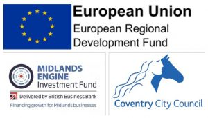 European Union, Coventry City Council and Midlands Engine Logos