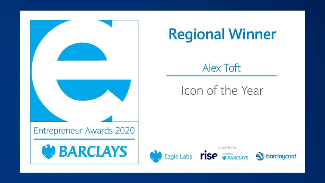 Alex Toft, Head of Minerva Business Angels wins Barclays Award